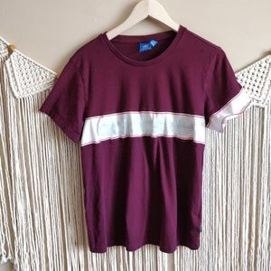 adidas Maroon White Mint Stripe Colorblock Tee XS